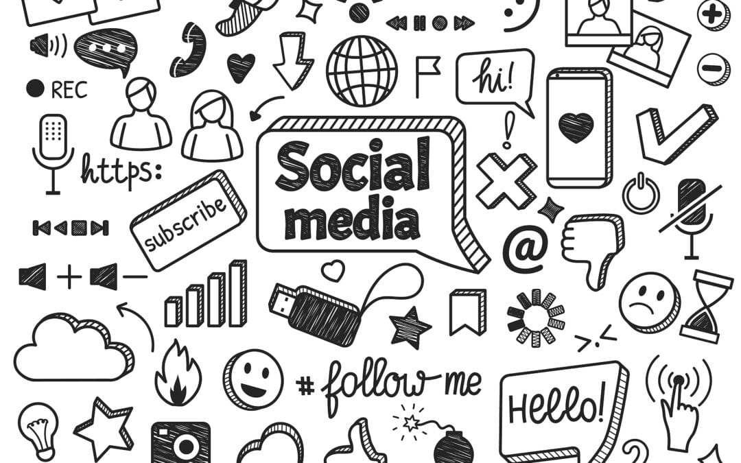 A black and white graphic depicting social media and the importance of internet safety