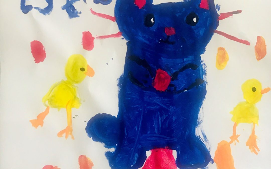 A child's painting of an Easter bunny