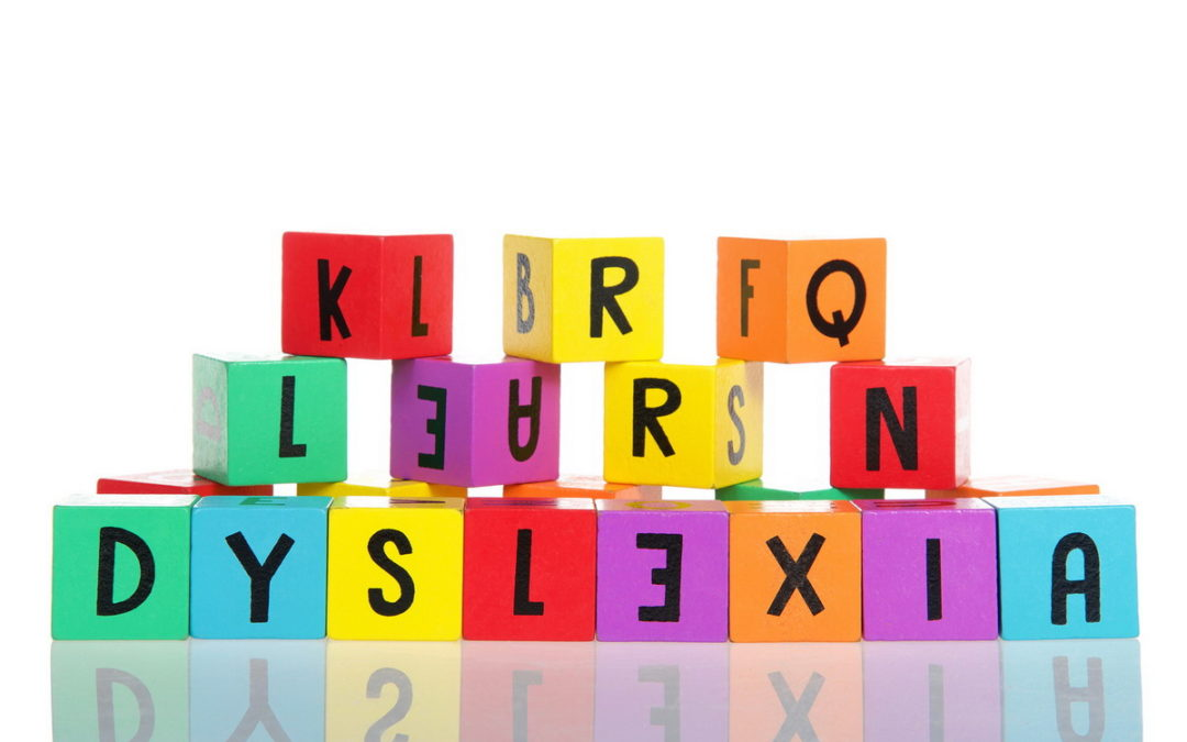 multi-colored blocks spelling out dyslexia