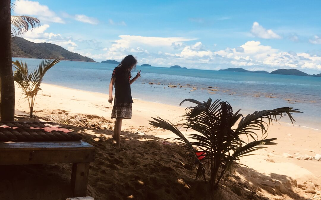 young girl in shadow on Island Paradise