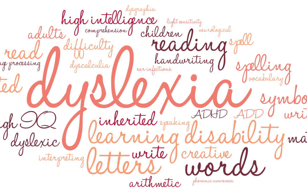 a word cloud describing a child with dyslexia