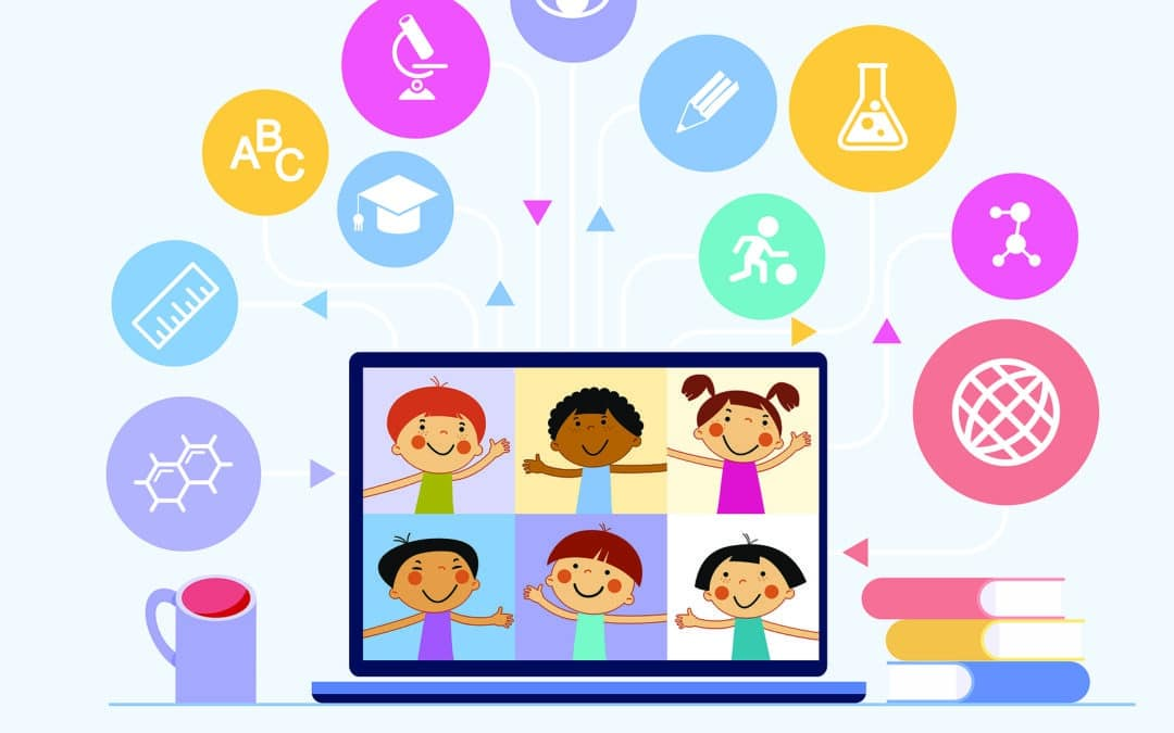 cartoon showing top free educational sites for kids