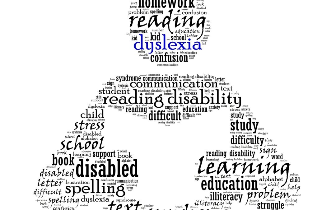 Dyslexia myths word collage of a person reading a book