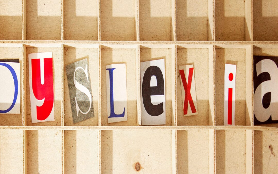 Letters in boxes spelling out dyslexia. Teaching a child with dyslexia requires people to think outside the box.