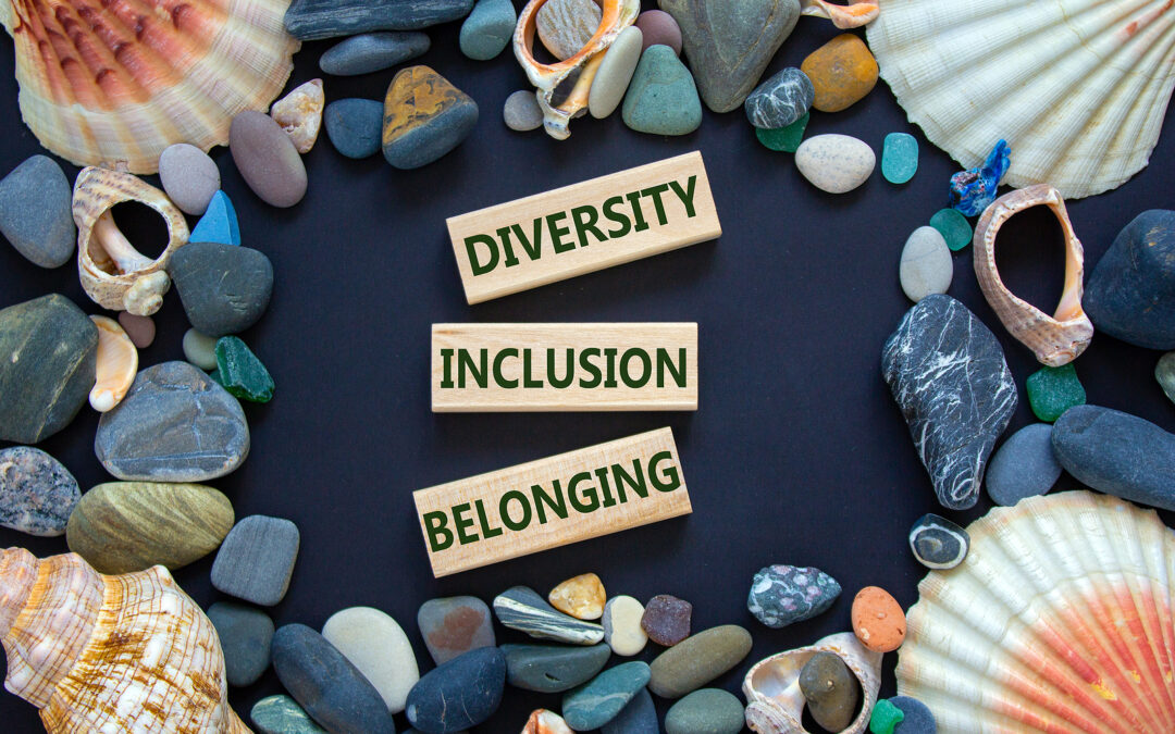 Diversity, inclusion and belonging bordered by shells to signify the importance of these when creating a dyslexia style guide
