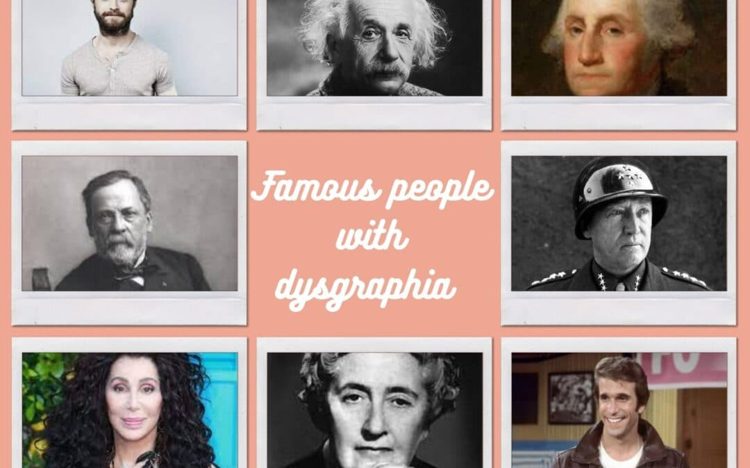 A collage showing famous people with dysgraphia